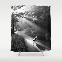 Dog in morning sunlight Shower Curtain