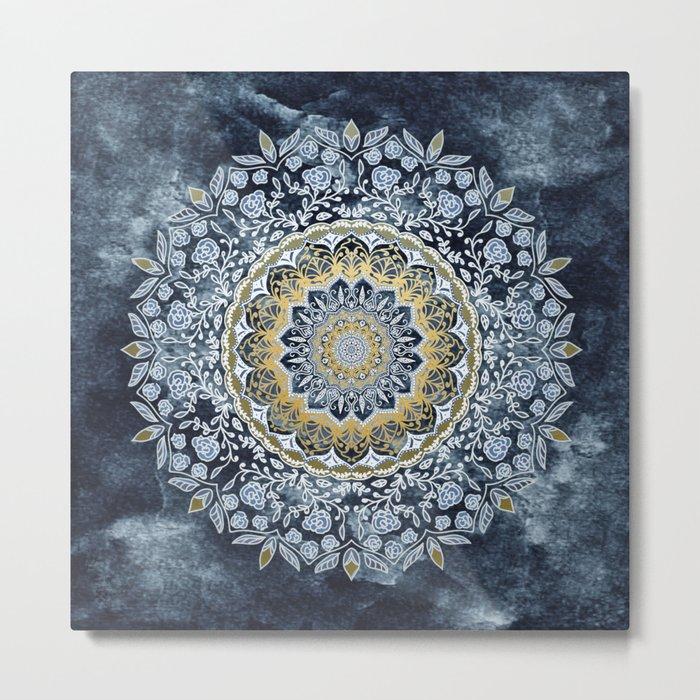 Blue Floral Mandala Metal Print