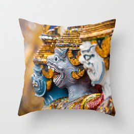 Yaksha guardians at the Grand Palace or Wat Phra Kaew, Bangkok, Thailand. A beautiful fine art photography of my wanderlust in south east Asia. Throw Pillow