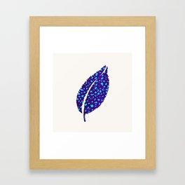 Indigo Leaf - Bright Blue Nature Design Framed Art Print