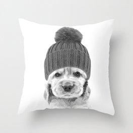 Black and White Cocker Spaniel Throw Pillow