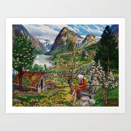 Alpine Lake Landscape, 'Girl, Springtime & Marigolds' by Nikolai Astrup Art Print