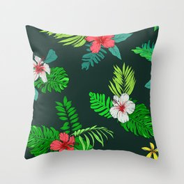 Hawaiian Tropical Island Hibiscus and Leaves Floral Pattern Throw Pillow