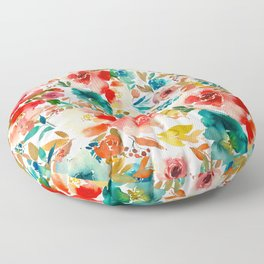 Red Turquoise Teal Floral Watercolor Floor Pillow