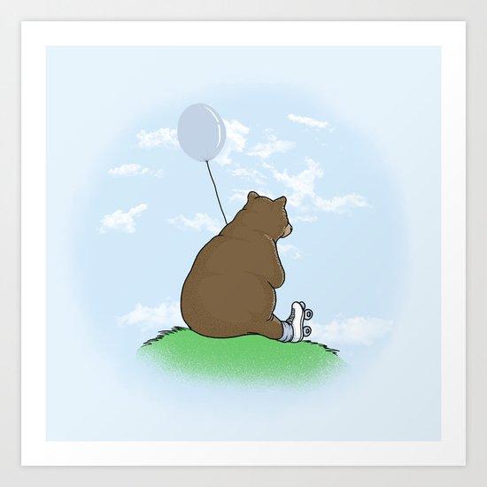 Cloudy the Bear Art Print