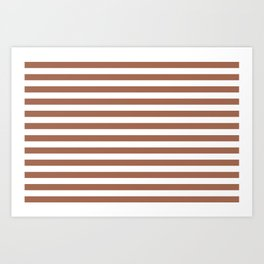 Sherwin Williams Color of the Year 2019 Cavern Clay SW7701 Uniform Stripes Fat Horizontal Lines Art Print