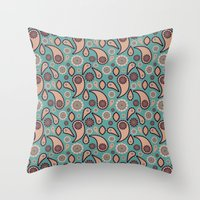 paisley Throw Pillows featuring Paisley by Lisi Fkz