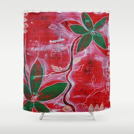 Red and green foliage fine art painting Shower Curtain