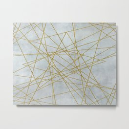 Golden Faux Glitter Lines On Teal Grey Metal Print