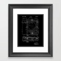 Record Player Patent - Black Framed Art Print
