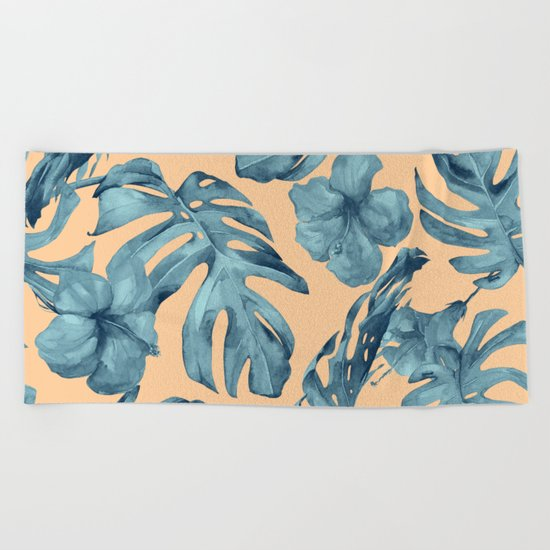 Island Life Hibiscus Palm Apricot Teal Blue Beach Towel