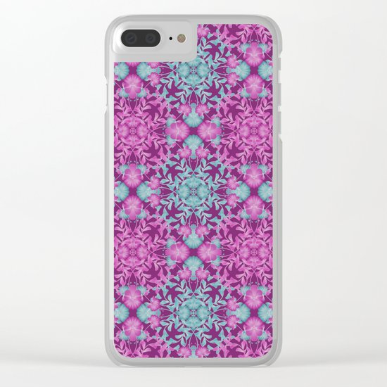 Blue pink floral pattern Clear iPhone Case