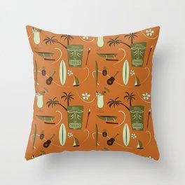 Orange Retro Hawaiian Tiki Hawaii Beach Throw Pillow