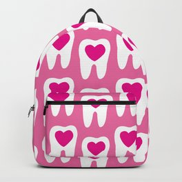 Teeth pattern with hearts in the center on pink background Backpack