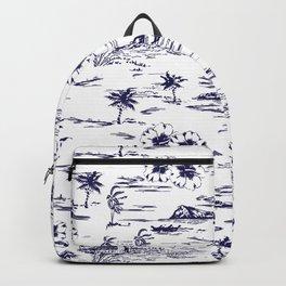 Tropical Island Vintage Hawaii Summer Pattern in Navy Blue Backpack