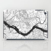 seoul iPad Cases featuring Seoul Map Gray by City Art Posters