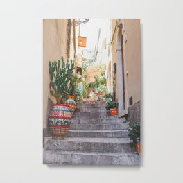 Italian alley | Taormina travel Italy Sicily photography art print Metal Print