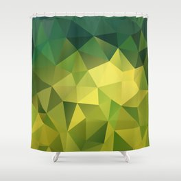 Abstract of triangles polygon in green yellow lime colors Shower Curtain