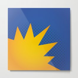 Minimal Pop Bang on Blue Metal Print
