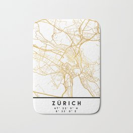 ZÜRICH SWITZERLAND CITY STREET MAP ART Bath Mat