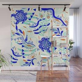 Graphic and maori inspired waterworld Wall Mural