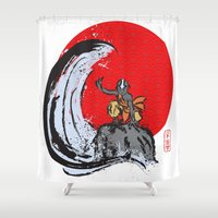 airbender Shower Curtains featuring Aang in the Avatar State by Tom Ledin