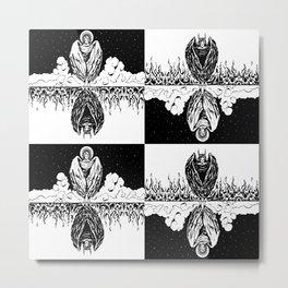 Duality: Angel/Devil Tiling (BW) Metal Print