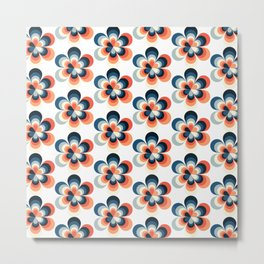 Coral and Navy Blue Floral Pattern 2 Metal Print