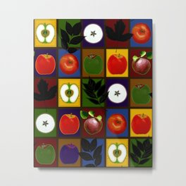 Rustic Apple Harvest Faux Quilt Metal Print