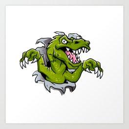 cartoon dinosaur ripping through a wall Art Print