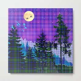 Moonlit Plaid Forest Metal Print