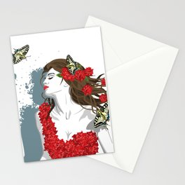 Woman in Dress from Gibiscus Flowers and Butterflies Stationery Cards