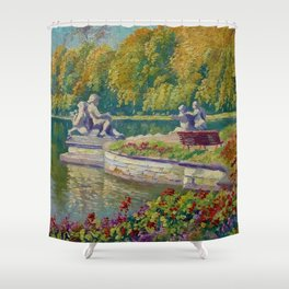 Lake and Gardens with Statuary Landscape by Nikolay Bogdanov-Belsky Shower Curtain