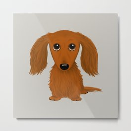 Longhaired Red Dachshund Metal Print