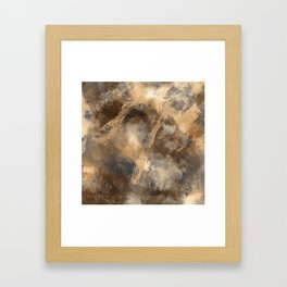 Stormy Abstract Art in Brown and Gray Framed Art Print