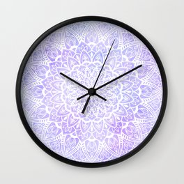 White Mandala on Pastel Blue and Purple Textured Background Wall Clock