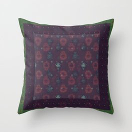 Lotus flower patchwork with green border, woodblock print style pattern Throw Pillow