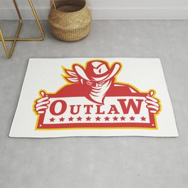 Outlaw Holding Sign Retro Rug