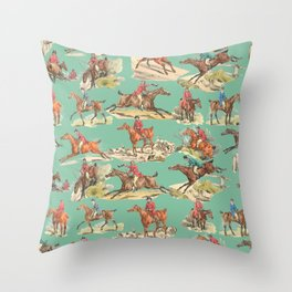 CRAZY HORSEMAN IN THE FIELD Throw Pillow