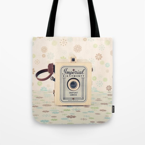 Retro Film Camera on Beige - Cream Pattern Background  Tote Bag