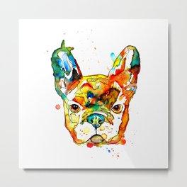 Colorful french bulldog Metal Print