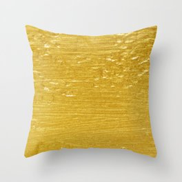 Solid Gold Paint Texture Throw Pillow