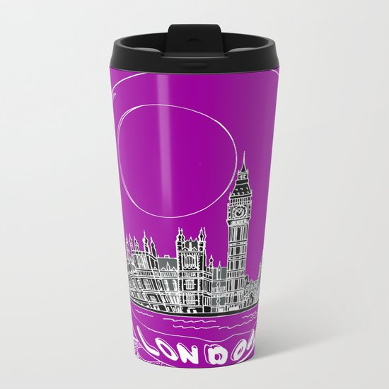the city of London on a purple background Metal Travel Mug
