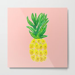 Watercolor Pineapple Metal Print