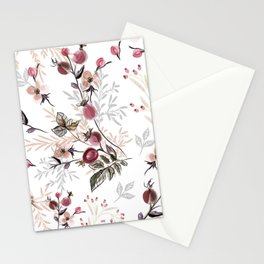 Vintage vector illustration with wild rose berries  Stationery Cards