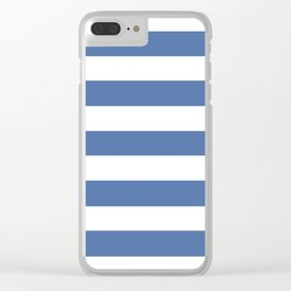 Blue yonder - solid color - white stripes pattern Clear iPhone Case