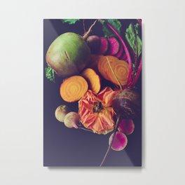 Moody Modern Botanical Floral and Vegetables Metal Print