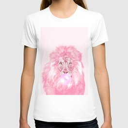 Lion Chewing Bubble Gum in Pink T-shirt