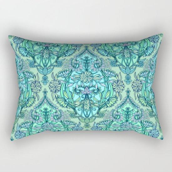 Botanical Moroccan Doodle Pattern in Mint Green, Lilac & Aqua Rectangular Pillow