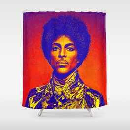 A digitally drawing of Prince (colour) Shower Curtain